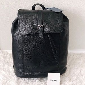 ✨New COLE HAAN Mens Leather Flap Backpack